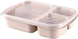Bollysky Bento Lunch Box,Reusable 3 Compartment Food Grade Meal Prep Storage Container Boxes For Kids Adults,Dishwasher and Freezer (Beige)