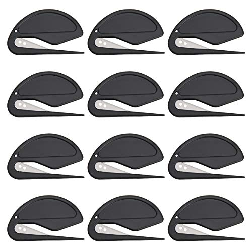 Letter Opener Envelope Slitter Luxiv 12 Pcs Women Letter Opener Slitter for Men Letter Openers with Razor Blade for Envelope Package Paper Cut Safe Mail Opener Black 12p