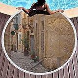 Toalla de playa para exteriores Toalla de playa para niñas de viaje de secado rápido Old Narrow Street European Town en Vittoriosa Malta Arquitectura histórica País para viajes, gimnasio, camping Sand