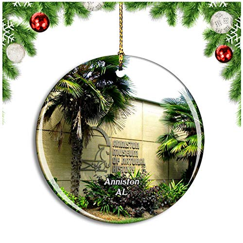 Weekino Anniston Museum Alabama USA Christmas Ornament Xmas Tree Decoration Hanging Pendant Travel Souvenir Collection Double Sided Porcelain 2.85 Inch