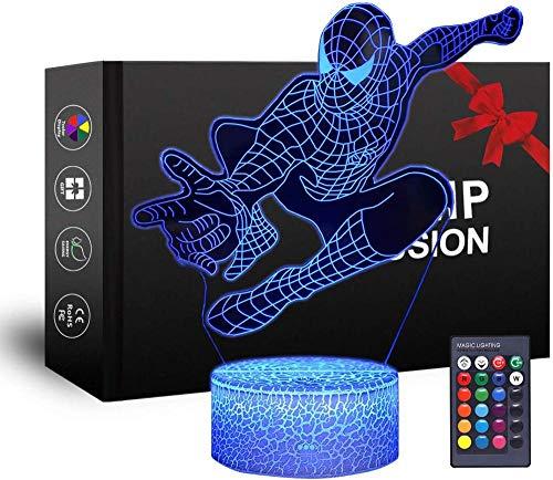 Lámpara de ilusión 3D 3D luz nocturna Spiderman, cargador USB, juguetes bonitos, ideas de regalo de cumpleaños, vacaciones de Navidad para bebé
