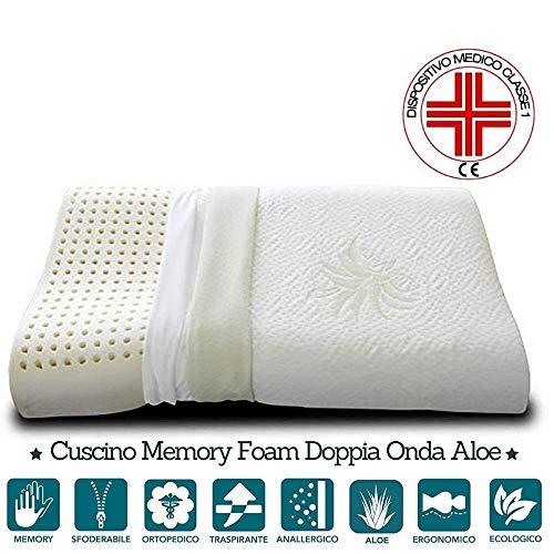 Evergreenweb - Cuscini 100% Memory Foam Saponetta o Doppia Onda per Cervicale Doppio Tessuto Aloe Vera e Cotone Sfoderabile e Lavabile con Dispositivo Medico