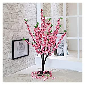 Silk Flower Arrangements DONGTAISHANGCHENG Artificial Peach Blossom Tree Plants 39 Inch Fake Peach Blossom Branch Leaves Topiary Silk Tree Faux Plant Decor