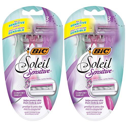 BIC Soleil Sensitive Women's 3-Blade Disposable Razor, 3 Count - Pack of 2 (6 Razors)