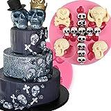 anyana Halloween Totenkopf Silikon für Fondant, Kuchen dekorieren Teig Gum Werkzeug Gebäck Küche Werkzeug Zucker Paste Backform Cookie Gebäck