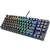 Teclado mecánico, teclado para juegos con interruptor azul mecánico, retroiluminación arco iris ajustable, teclado con cable estándar con teclas antighosting completas para juegos, programación