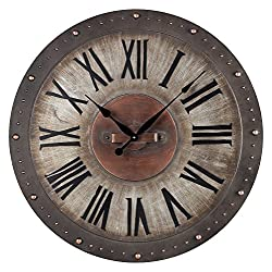Jardim Grey/Copper 2In. Height Metal Roman Numeral Outdoor Wall Clock with Jardim Grey/Gold Finish