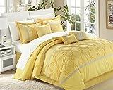 Chic Home Vermont 8-Piece Comforter Set, Queen, Yellow/Grey