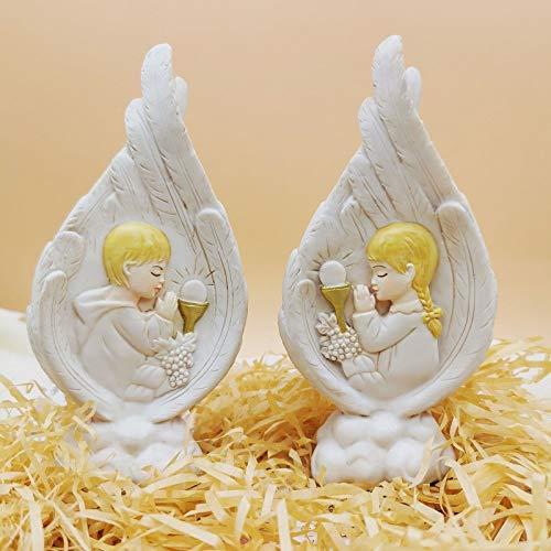 Qingxin Estatua de la Sagrada Familia Figuras coleccionables hechas a mano resina alas de ángel ornamento religioso católico regalos para hombres y mujeres