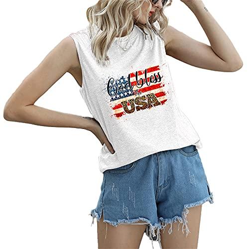 """Mayntop Camiseta de manga corta para mujer con diseño de bandera de Estados Unidos con texto en inglés """"God Bless"""" para el 4 de julio, A-blanco, 44"""