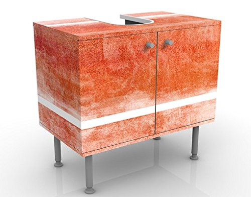 Meuble sous Vasque Design Colour Harmony Red 60x55x35cm, Petit, 60 cm de Large, réglable, Table de lavabo, Armoire de lavabo, lavabo, Meuble Bas, Baignoire, Salle de Bains, Armoire de Salle Bains