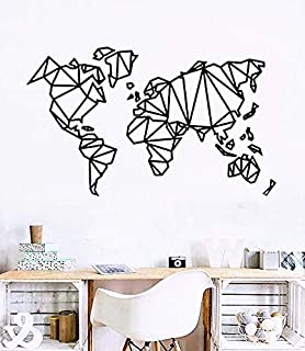 World Geometric Wooden Map Wall Art Wood Wall Decor Farmhouse Living Room Wall Large Travel Map