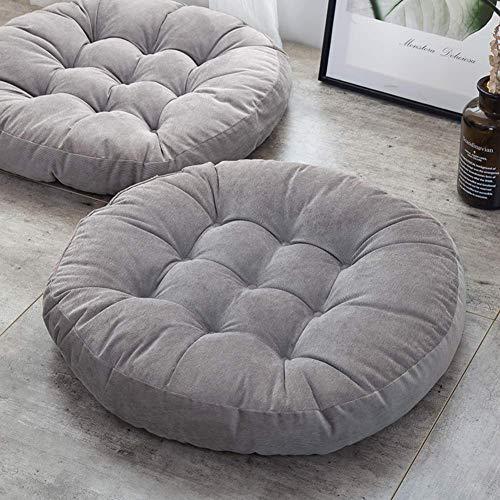 CHHD Rundes Sitzkissen im japanischen Stil, Futonkissen, getuftete gepolsterte Sitzpolster, verdickte überfüllte Bodenkissenmöbel Stuhlpolster Grüner Durchmesser: 58 cm