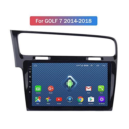 GPS Navigation 1Din Autoradio 10-Zoll-Muti-Touchscreen Quad Core HD Stereo-Auto-DVD-Player Bluetooth Unterstützung Lenkrad-Steuerung FM-RDS-Empfänger Audio-Video für Golf 7 2014-2018,Wifi 2G 32G