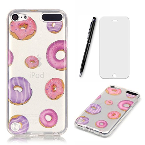 Lotuslnn Coque iPod Touch 5,iPod Touch 5th/6th TPU Silikon Etui Transparent Housse Cases and Covers (Coque+ Stylus Pen + Tempered Glass Protective Film)Donuts