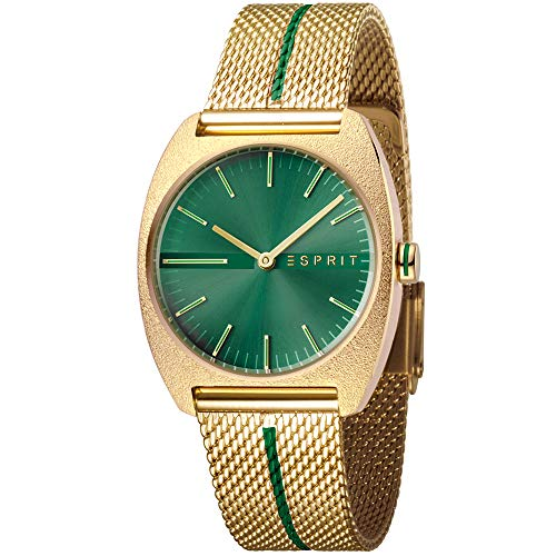 Esprit Damenuhr Spectrum Green Gold Mesh 5 Bar Analog Edelstahl Gold ES-1L035M0075