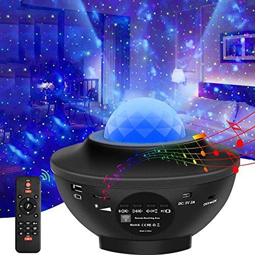Led Sternenhimmel Projektor, Sternen licht Projektor mit Fernbedienung, Farbwechsel Musik, Bluetooth Lautsprecher, Timer Ozeanwellen Projektor Besten Geschenke für Party Weihnachten Ostern (Schwarz)