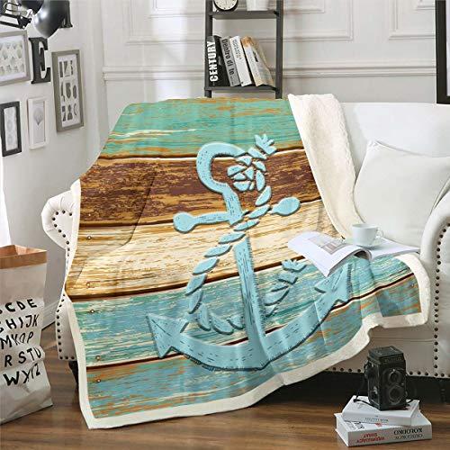 Anchor - Manta de felpa con diseño náutico de océano marino, manta de forro polar, para cama, sofá, sofá, microfibra, retro, azul, marrón, a rayas, decoración de habitación de bebé, 76 x 101 cm