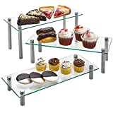 """3 Tier Rectangle Tempered Glass Retail Display Stand 6 x 14"""" for Cupcakes, Dessert, Bags, Perfume – Set of 3 Glass Display Raisers. (Clear)"""