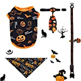 Dog Costume Halloween, FhonLee Pet Cat Clothing Set for Halloween Party Decoration, 4 Pieces Pumpkin Pets Costume Cosplay Accessories, Halloween Clothes, Triangle Pet Scarf, Collar and Tie