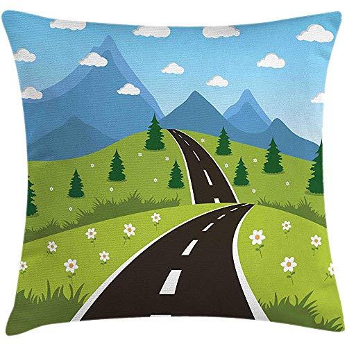 WHEYT Funda de cojín de cojín, diseño de Estilo de Dibujos Animados de una Carretera Que Conduce a Las montañas en un área Rural Funda de Almohada Cuadrada, 60X60 cm