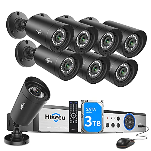 3TB HDD Hiseeu 5MP 8Channel Security Camera System,8Pcs 5MP Super HD Wired Outdoor Cameras with Night Vision, Home Surveillance System, Mobile APP Access & Alerts,No Monthly Fee, 3TB Hard Drive