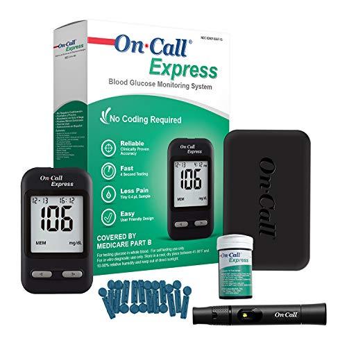 Kit de prueba de diabetes On Call Express, medidor de glucosa en sangre, 10 tiras de análisis de sangre, 1 dispositivo de lanzamiento, lanzas de 1.06oz, solución de control, estuche de transporte, libro de registro, negro