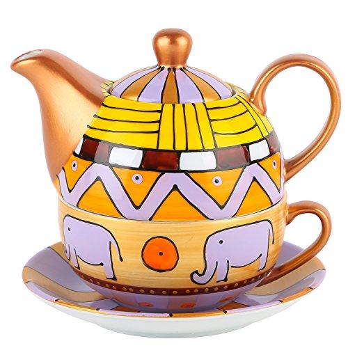 Artvigor, Tetera de Porcelana Juego de te Colorido, te para un Conjunto, Regalo para Navidad y cumpleanos