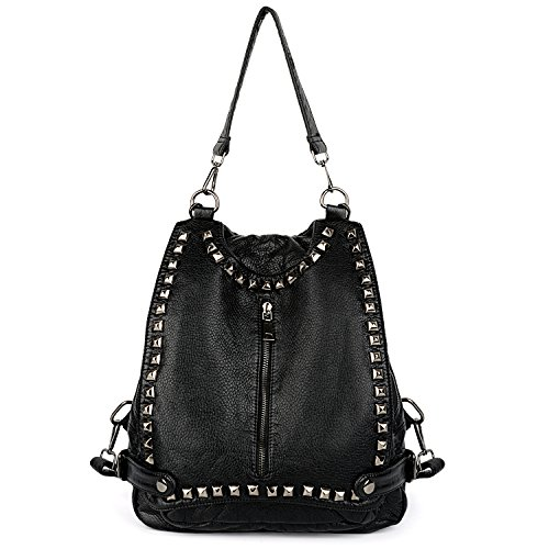 UTO Women Backpack Purse PU Washed Leather Rivet Studded Convertible Ladies Rucksack Shoulder Bag Black