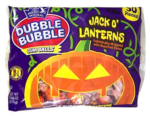 Jack O' Lanterns Halloween Dubble Bubble Gum Balls, 50 Pieces