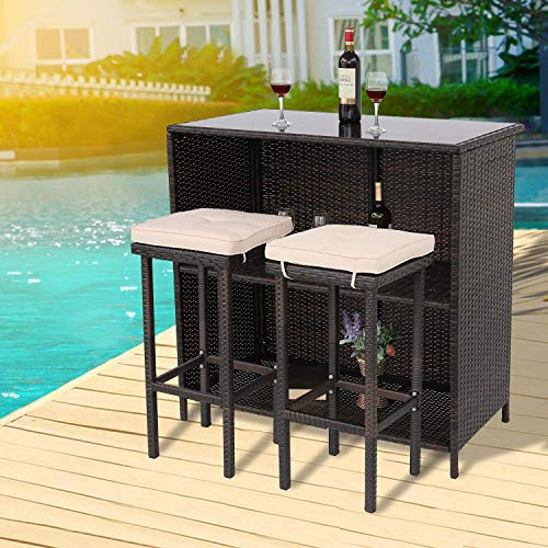 Furnimy 3 Pieces Patio Bar Set Outdoor Wicker Bar Furniture Outdoor Bar Set Outside Bars for Patio...