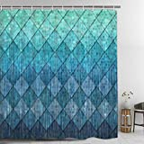Ikfashoni Rhombus Shower Curtain with 12 Hooks, Mermaid Scales Shower Curtains for Bathroom, Teal Ocean Shower Curtain Waterproof Fabric, 69' x 70' Inches