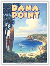 Dana Point, California - Surfing Spot - Vintage Style World Travel Poster by Kerne Erickson - Master Art Print - 9in x 12in