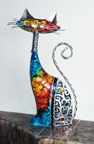 Juliana Natural World Statue Chat en métal peint à la main 33cm