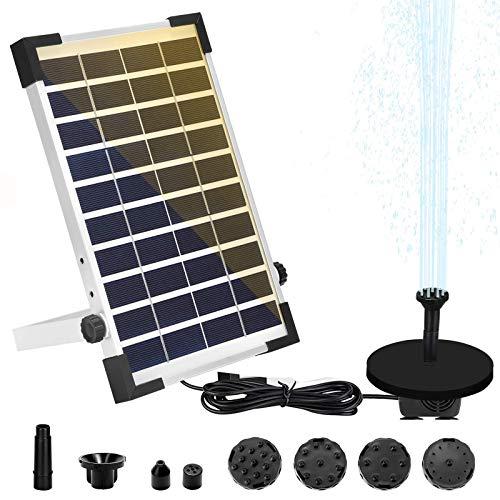 ZJLA 5W Solar Fontein Pomp, Solar Vijver Pomp Kit Waterpomp Set Zonne-drijvende Fontein Pomp met 6 fontein stijlen voor tuin decoratie/vistank/vogel bad/zwembad