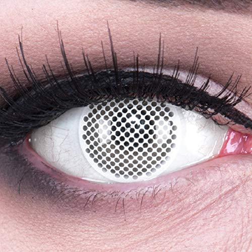 Farbige weiße Crazy Fun Kontaktlinsen White Screen weiß mit gratis Linsenbehälter + 60ml Pflegemittel Topqualität zu Karneval und Halloween!