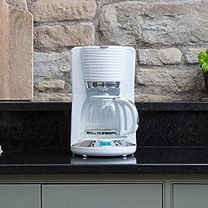 Russell Hobbs 24390-56 Machine à Café, Cafetière Filtre 1,25L Inspire, Programmable 24h, Verseuse Verre, Maintien au Chaud - Blanc