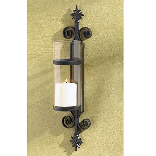 2 Black Iron French Hurricane Candle Holder Wall Sconce