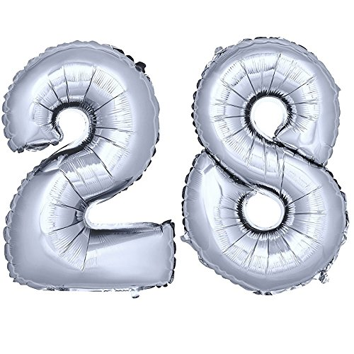 DekoRex® Folienballon Zahlenballon Luftballon Geburtstag Deko 80cm Zahl Silber 28