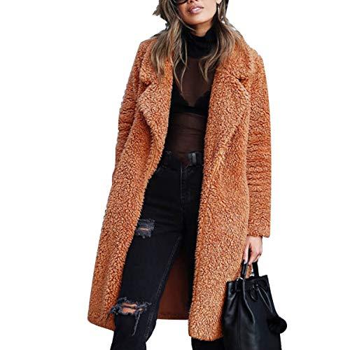XingYue Direct - Cappotto da donna in pelliccia sintetica a pelo lungo, spesso e caldo, a maniche lunghe, collo ampio Caramello S