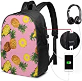 Rucksack mit USB-Schnittstelle Seamless Pineapple Pattern Waterproof Laptop Backpack with USB Charging Port Headphone Port Fits 17 Inch Laptop Computer Backpacks Travel Daypack School Bags for Men Wo