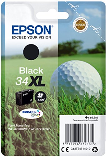 Epson 34 Serie Pallina da Golf, Cartuccia Originale Getto d'Inchiostro DURABrite Ultra, Formato XL, Nero, con Amazon Dash Replenishment Ready