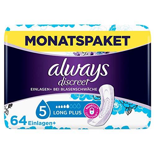 Always Discreet Inkontinenz-Einlagen+ Long Plus Spar-Paket bei Blasenschwäche, 64 Einlagen (4 Packungen x 16 Stück)