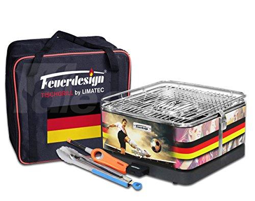 Holzkohle Tischgrill TEIDE - Sondermodell - Deutschland - Fußball WM - v. Feuerdesign im Spar-Pack mit Grill-Zubehör