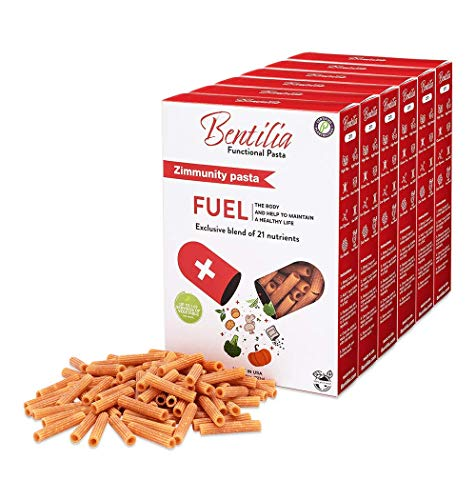 Bentilia Zimmunity Gluten Free Veggie Pasta 6 Pack | 21 Nutrient Blend of High Protein Penne Pasta made of Red Lentils, Fresh Kale, Spinach, Chlorella, and other Lean Cuisine Ingredients | 48 oz