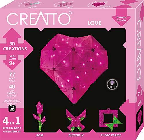 CREATTO Love 3D-Leuchtfiguren entwerfen, 3D-Puzzle-Set für Herz, Rose, Schmetterling oder Bilderrahmen, gestalte kreative Zimmer Deko, 77 Steckteile, 40-tlg. LED-Lichterkette für Kinder und Erwachsene