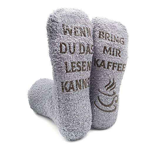 iZoeL Witzige Socken mit Geschenkbox Herr Frau Freundin Spruch Wenn Du Das Lesen Kannst Bring mir Schokolade/Kaffee/Wein Lustige Geschenk (Grau Kaffee Socken)
