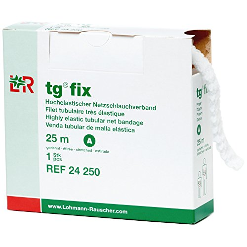 Lohmann & Rauscher-34967 tg Fix Net Tubular Bandage, Elastic Net Wound Dressing, Bandage Retainer for Fingers, Size A (17.5cm Wide x 25m Long When Stretched)