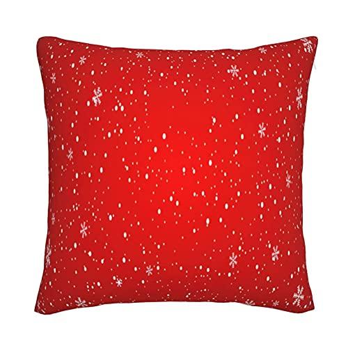 Mxswru Funda de cojín de terciopelo con fondo rojo nieve, funda de almohada decorativa cuadrada de 45,7 x 45,7 cm, para cama, sofá con cremallera invisible