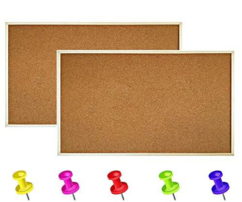 ybaymy 2 Stück 90 x 60 cm Korkwand Pinnwand Kork, Korkplatte mit Holzrahmen und 5 Pinwandnadeln, Korktafel Kork Memoboard, für Notizen, Bilder, Foto Büro Schule Küche